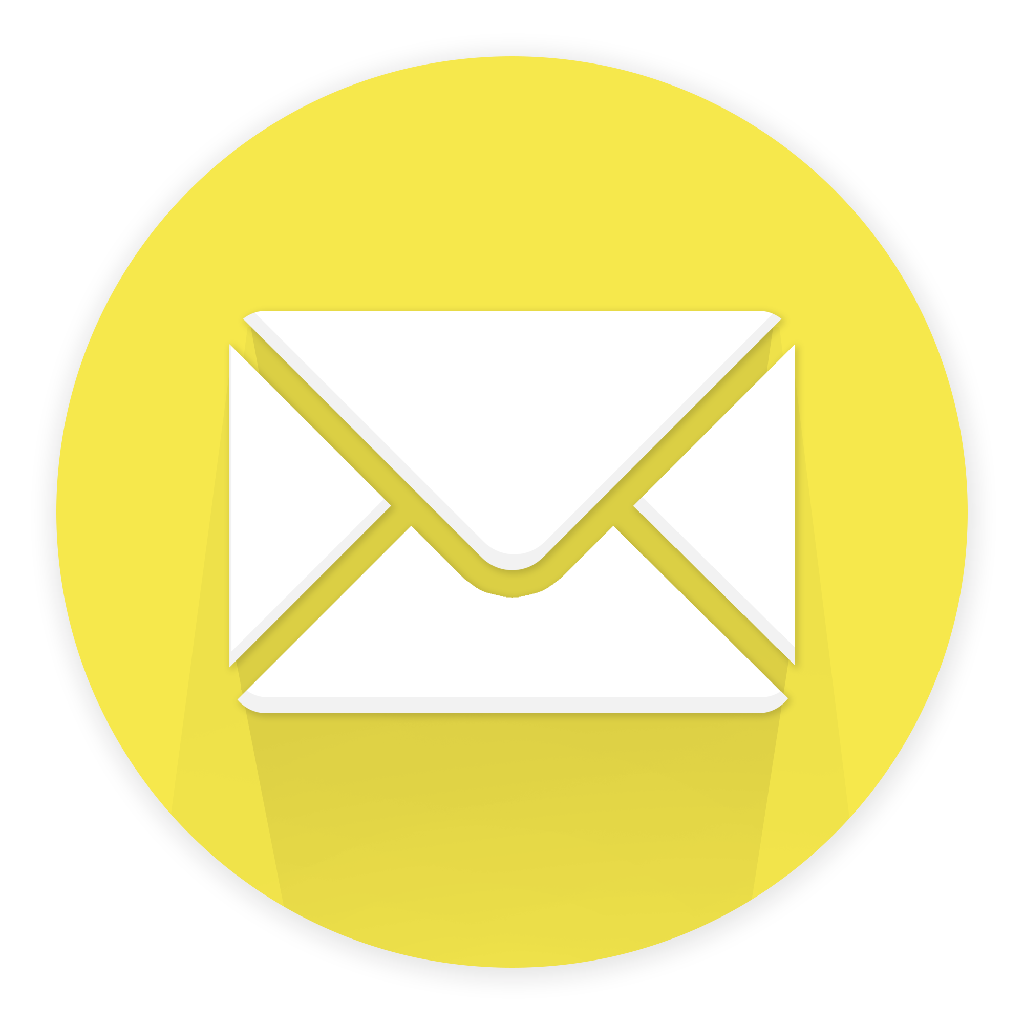 clipart of white envelope in yellow circle